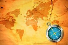 Старая карта с компасом Стоковая Фотография RF