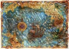 Старая карта с концепцией охоты сокровищ, старым пиратским кораблем и компасом иллюстрация вектора