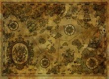 Старая карта с островами сокровища, компас пирата, старые корабли на античной предпосылке текстуры иллюстрация штока
