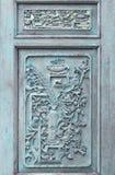 Старая картина цветка высекла на деревянной предпосылке Стоковое Изображение RF