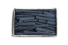 Старая картонная коробка с ручками угля Стоковые Изображения RF