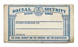 Старая карточка социального обеспечения Стоковые Изображения