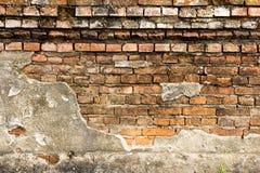 Старая кирпичная стена в виске Таиланда Стоковое Изображение