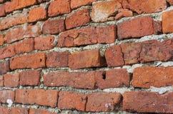 Старая кирпичная стена, красный каменный кирпич, древняя стена Стоковое Изображение