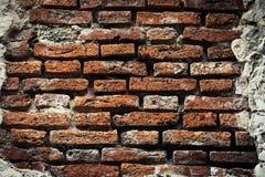 Старая кирпичная стена, старая текстура красного камня преграждает крупный план Стоковое Изображение RF