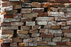 Старая кирпичная стена, старая текстура красных каменных блоков Стоковые Фотографии RF
