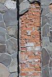 Старая кирпичная стена: Текстура винтажной кирпичной кладки - каменного кирпича Стоковые Изображения
