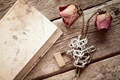 Старая книга и прикованные розы Стоковые Изображения