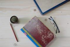 Старая книга на деревянной таблице с кактусом и стеклами Стоковые Фотографии RF