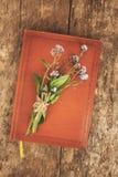 Старая кожаная книга тетради, это букет цветков забывать-я стоковое фото rf