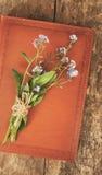 Старая кожаная книга тетради, это букет цветков забывать-я стоковые фото