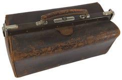 Старая кожа врачует сумку с ручкой стоковая фотография rf