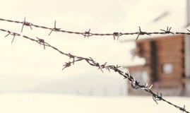 Старая колючая проволока обнести зима Стоковое Фото