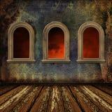 Старая комната, интерьер grunge с окнами иллюстрация вектора