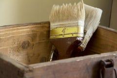 Старая коричневая коробка стоковое изображение