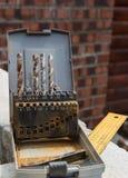 Старая коробка с сверлами Стоковое Изображение RF