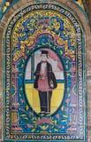 Старая красивая картина мозаики на стене на дворце Golestan, Иране Стоковое Фото