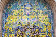 Старая красивая картина мозаики на стене на дворце Golestan, Иране Стоковые Изображения