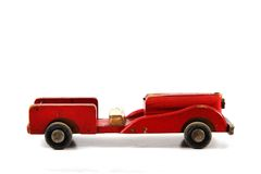 Старая красная деревянная игрушка автомобиля Стоковое фото RF