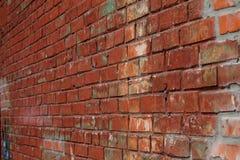 Старая красная кирпичная стена в фоновом изображении стена текстуры кирпича предпосылки старая Винтаж Стоковые Фотографии RF