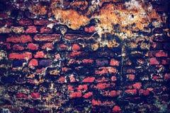 Старая красная кирпичная стена покрыта с прессформой Стоковые Фото