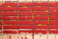 Старая красная кирпичная стена, предпосылка grunge Стоковые Фото