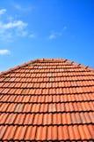 Старая красная плитка текстуры крыши Стоковые Изображения RF