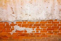 Старая красная текстура кирпичной стены повредила предпосылку Брайна абстрактную пустую Stonewall Стоковые Изображения
