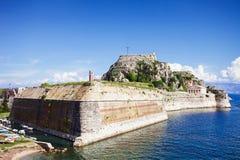 Старая крепость в городке Корфу, Греции Стоковое Изображение