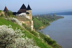 Старая крепость в зоне Украине Hotyn Chernivtsi Стоковое фото RF