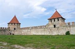 Старая крепость на реке Днестре в гибочном устройстве городка, Приднестровье Стоковые Фото