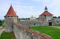 Старая крепость на реке Днестре в гибочном устройстве городка, Приднестровье Стоковое Изображение RF