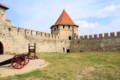 Старая крепость на реке Днестре в гибочном устройстве городка, Приднестровье Стоковые Изображения