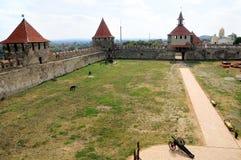 Старая крепость на реке Днестре в гибочном устройстве городка, Приднестровье Стоковые Фотографии RF