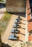 Старая крепость на реке Днестре в гибочном устройстве городка, Приднестровье Город внутри границы Молдавии вниз unrecogni управле Стоковое Изображение RF