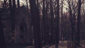 Старая крипта в кладбище сток-видео
