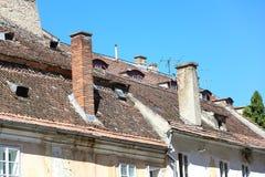 Старая крыша в Brasov, România Стоковое Изображение RF