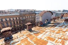 Старая крыша Санкт-Петербурга Стоковые Фотографии RF