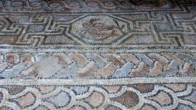 Старая кудель и Coloful мозаики пола с деталью рыб и утки Стоковое Фото