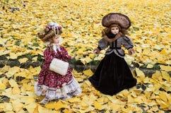 Старая кукла фарфора на предпосылке разрешения гинкго Стоковое фото RF