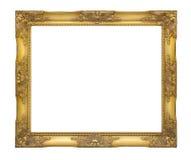 Старая классическая золотая картинная рамка с путем клиппирования Стоковая Фотография RF