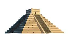 Старая майяская пирамида, изолированная на белизне иллюстрация штока