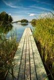 Старая малая пристань на озере Galve в Trakai Стоковое Изображение