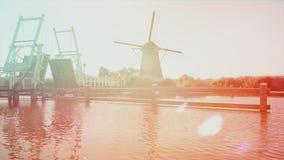Старая мельница ветра в Голландии Нидерланд видеоматериал