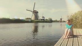Старая мельница ветра в Голландии Нидерланд сток-видео