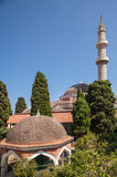 Старая мечеть suleman в центре города в Родосе стоковая фотография