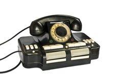 Старая мини телефонная станция изолирована на белой предпосылке Стоковое Фото