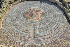 Старая мозаика пола на парке Phaphos археологическом Стоковое Изображение RF