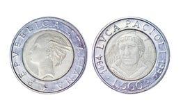Старая монетка в Италии, годе 1994 500 liret стоковая фотография