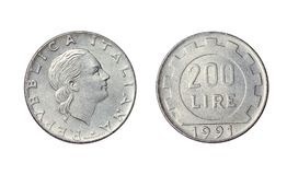 Старая монетка в Италии, 200 лирах года 1991 стоковое фото rf
